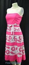 BCBG MAXAZRIA Pink White Dress Sequin Smocked Back Cotton Sundress tie SZ 6 NEW