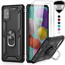 Per Samsung Galaxy A71 Shockproof Anello Armatura Stand Phone Case + Vetro Temperato