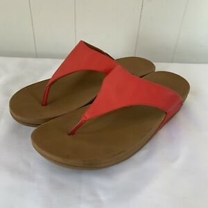FitFlop Lulu T Strap Thong Sandals Flip Flop Passion Red Womens Size 10