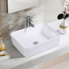 Bathroom Rectangle Ceramic Vessel Sink Vanity Pop Up Drain Modern Art Basin New