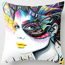 UK Super Soft Cotton Colorful Woman Eyes White Pillow Case Cushion Cover RC10