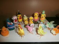 Vintage Lot 14 Chenille Mix Easter Chicks Ducks w/ Wire Legs, Feathers,
