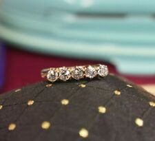 Antique 14K yellow gold 5 stone .56 tcw old mine diamond ring sz 4.75 sizable