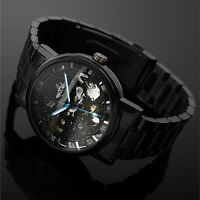 New Men Self-winding Skeleton Dial Automatic Mechanical Stainless Steel Watch.