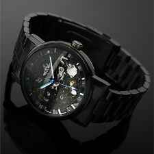Men Self-winding Skeleton Dial Automatic Mechanical Stainless Steel Watch 2018