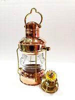 "Antique 14"" Ship Lamp Boat Copper Brass Oil Lantern Maritime Collectible Decor"