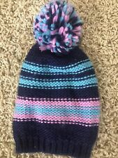 Lands End Kids Girls One Size Blue & Purple Ski Hat with Pom Pom