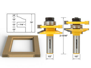 """Large Ogee 2 Bit Rail and Stile Router Bit Set - 1/2"""" Shank - Yonico 12236"""
