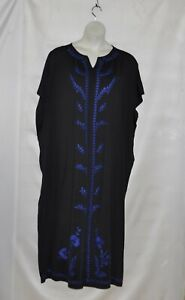 Joan Rivers Petite Embroidered Floral Border Caftan Size MP Black