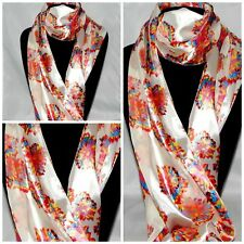 """MULTI COLOR FLOWERS ARTISTIC FLORAL ON WHITE SCARF 60"""" X 13"""" INDIANA US SELLER!"""