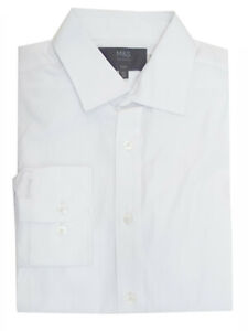 EX M&S MENS WHITE Pure Cotton Slim Fit Long Sleeve Shirt - Size 14.5 to 16.5