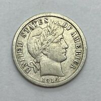 1914 (P) Barber (Liberty Head) Dime, Circulated (XF) 90% Silver *2a76