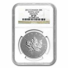 New 2012 Canadian Silver Maple Leaf Dragon Privy Mark 1oz NGC SP69 Reverse Proof