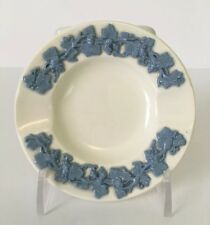 Wedgwood Blue on Cream Embossed Queens Ware Round Ashtray Dish