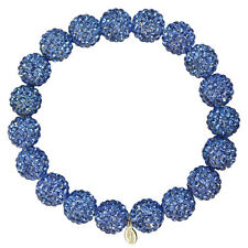 KIRKS FOLLY  10MM FAIRY FIREBALL CRYSTAL BALL STRETCH BRACELET  sapphire New!