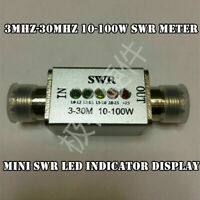 1PCS 3Mhz-30Mhz 10-100w SWR Meter LED Indicator Connector MINI SWR Display GOOD