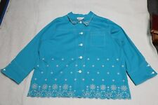 DIANES ESSENTIALS Womens Turquoise Embroidered Blazer Jacket Size 3X (NWOT)