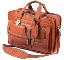 Claire Chase Leather Executive Computer Laptop Briefcase - Saddle Tan