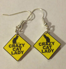 Crazy Cat Lady Sign Earrings Cat Lovers Humor Charms