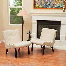 Set of 2 Mid-Century Oatmeal Beige Fabric Accent Slope Slipper Chairs