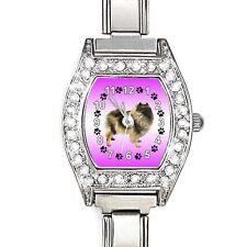 Keeshond Dog CZ Ladies Stainless Steel Italian Charm Bracelet Wrist Watch BJ1110