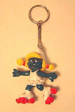 Vintage 1980 Rollerskate Smurfette PVC Figure Keychain