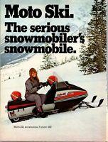 Moto-Ski Snowmobile Futura 440 Model Photo 2 Page Spread 1973 Vintage Print Ad