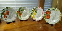 """Set Of 4 222 Fifth China Heirloom Tomatoes Appetizer Bread Plates 6 1/4"""" Diam."""