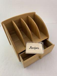 Vintage Julie Pomerant Wood Desk Mail Bill Letter Organizer Recipe Cookbook Box