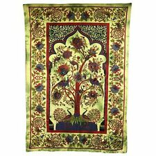 Indian Bedspread - Throw - Ethnic Wall Hanging - Tree of Life - Green Cotton