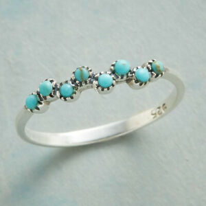 Fashion Women 925 Silver Turquoise Ring Band Party Jewelry Girl Gift Size 6-10