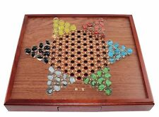Board Games ~ Chinese Checkers Square Wooden Game Set Drawers and Marbles