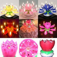 Magical Blossom Lotus Light Birthday Musical Rotating Flower Lamp cake Candle Y