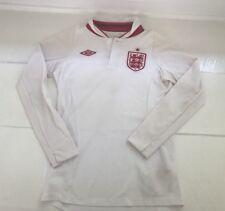 Umbro WHITE / RED England Goalie Goalkeeper Soccer Polo Shirt Jersey Youth M