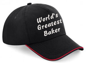Embroidered World's Greatest........... Black/Red Piped Baseball Cap, Ideal Gift