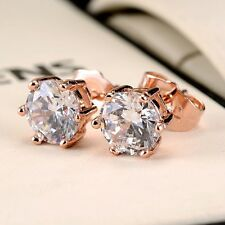 Women ear stud 18k Rose Gold Filled Earrings 7mm CZ Fashion Jewelry