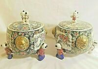 PAIR Asian Chinese Soup Tureen Round Footed Gold White Blue Pink
