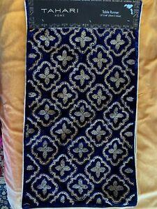 Tahari Home Embellished Velvet Table Runner Color Dark Blue /Gold NWT