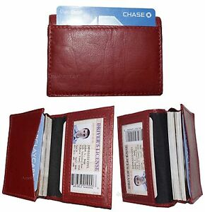 Lot of 3 women men's Leather Business Credit Card ID card case fifty card holder