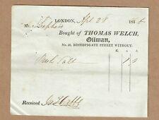 1836 billhead, Thomas Welch, Oilman of Bishopsgate, London