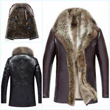 Men's Winter Genuine Fur Collar Leather Coat Jacket Overcoat Warm Long sleeve