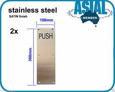 2pcs stainless STEEL door Push PLATE SATIN finish commercial toilet door