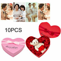 10x Artificial Soap Flowers Fake Rose Bear Gift Box Party Birthday Wedding Gifts