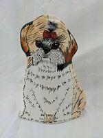 """Dogs by Nina Lyman Vase Planter 8"""" Shitzhu Llasa Apso"""