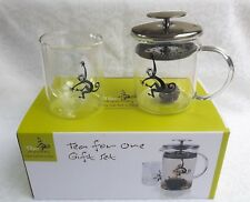 Tea For One Gift Set - Glass Cup, Tea Pot + Filter Lid - Monkey - New in Box