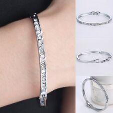 Women Fashion Crystal Rhinestone Silver Bridal Bangle Bracelet Jewelry Gift Hot