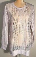 Fabletics Womens Size M Sophie Tunic Top Power Lace Mesh Pullover White NWT