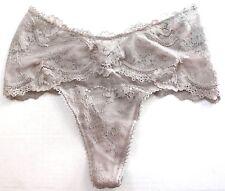 Victoria's Secret Lace Dot Mesh Mid Rise Thong Panty Sheer Gray Size XS