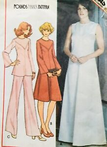 Vintage 1970's EVENING DRESS / BELL SLEEVE DRESS Sewing Pattern SIZE 16 (M5486)