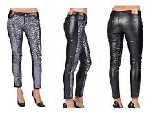 Machine Jeans Co. Size M Faux Vegan Leather Leatherette Ankle Pant Sequin Black